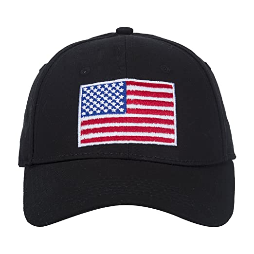 281aee288d92e8 American Flag Hat Embroidered 100% Cotton Adjustable Strap Baseball Caps ( black)