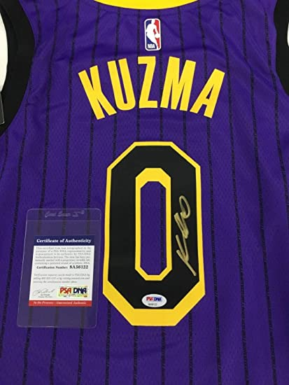 6bcfcdbb9e9 Image Unavailable. Image not available for. Color  Kyle Kuzma Lakers  Autographed Signed Authentic Swingman City Edition Jersey ...
