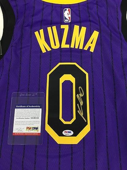 5943ffb4bd0 Kyle Kuzma Lakers Autographed Signed Authentic Swingman City Edition Jersey  Memorabilia PSA/DNA 8A56122