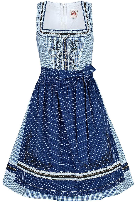 Damen Spieth & Wensky Dirndl kurz weiß-blau kariert mit Rüschen, blau,
