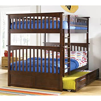 Atlantic Furniture Columbia Full Over Bunk Bed With Trundle In Walnut