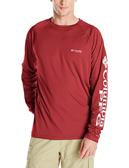 6795b4d2151 Columbia Men's PFG Terminal Tackle Long Sleeve Tee , Beet/White Logo, Small