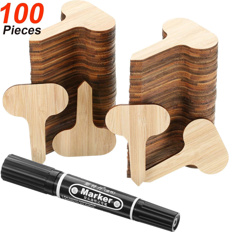 Zonon 100 Piezas Etiquetas de Plantas de Bambú con Pluma para ...