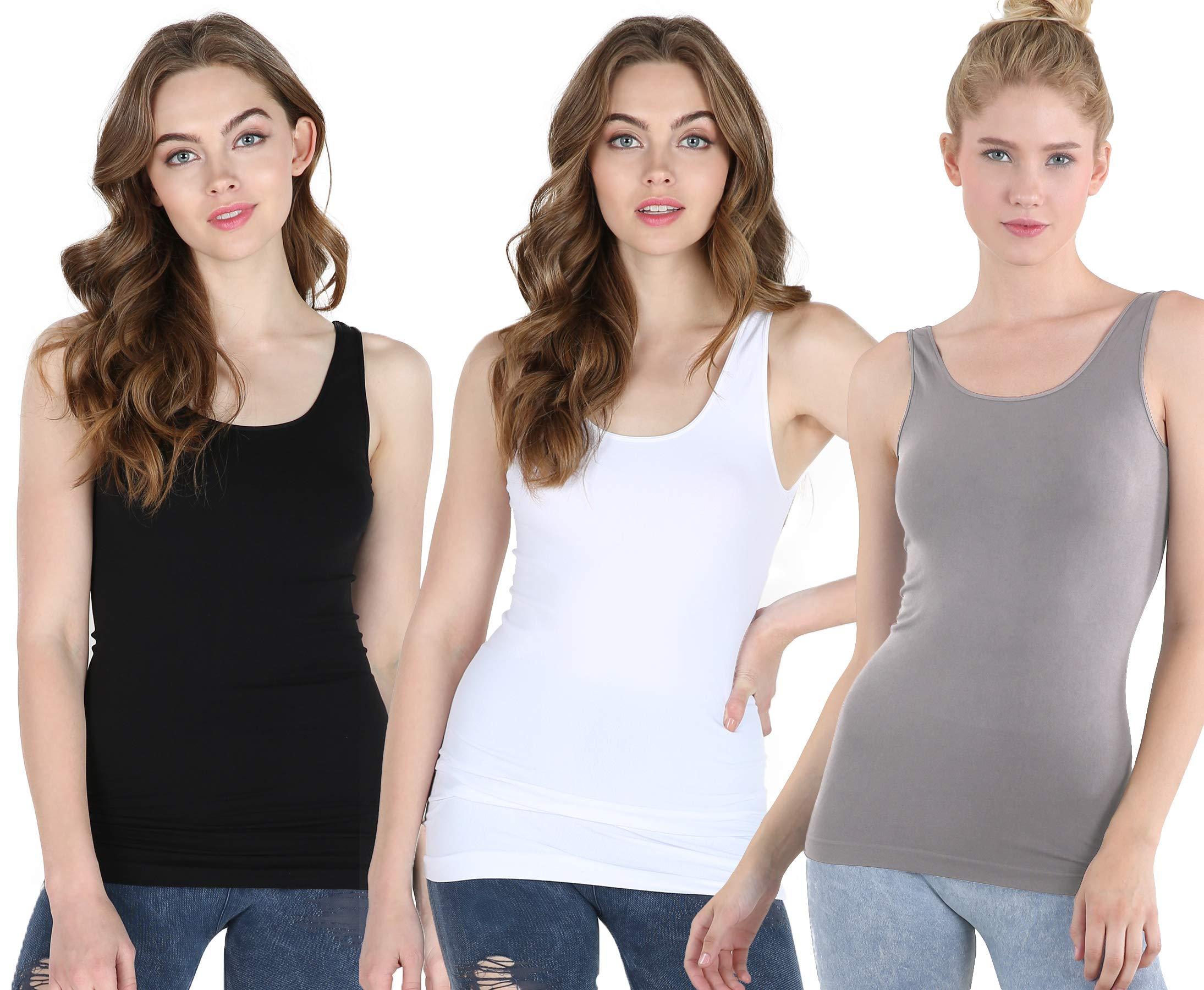 Nikibiki Women's Seamless Premium Classic Tank Top, Made in U.S.A, One Size (Pack of 3: Black, White, Cool Grey)