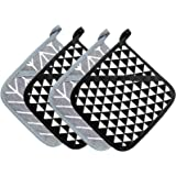 Klyfar Cotton Pot Holders for Kitchen - Potholders for Kitchen Heat Resistant, Square Modern Hot Pads with Pocket for Cooking