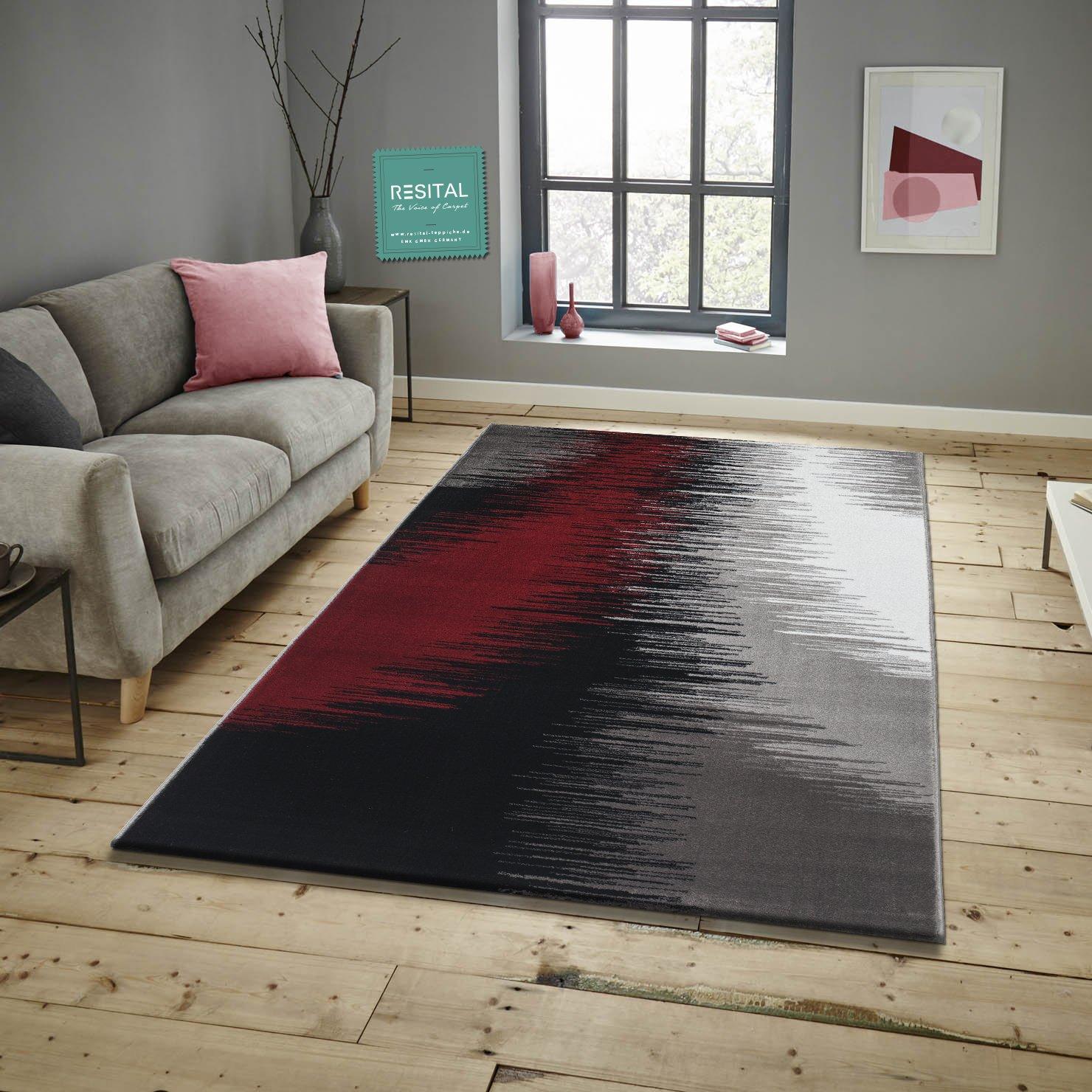 Keymura Savoy Teppich im Modernen Design Wohnzimmerteppich Florhöhe 11 mm Farbe Silber-Rot Größe  160x230 cm