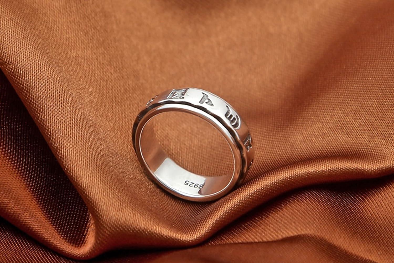 Daesar 925 Sterling Silver Rings Men Punk Ring Men Rings Fashion Retro Ring Mentra Silver Ring Size 8-12.5