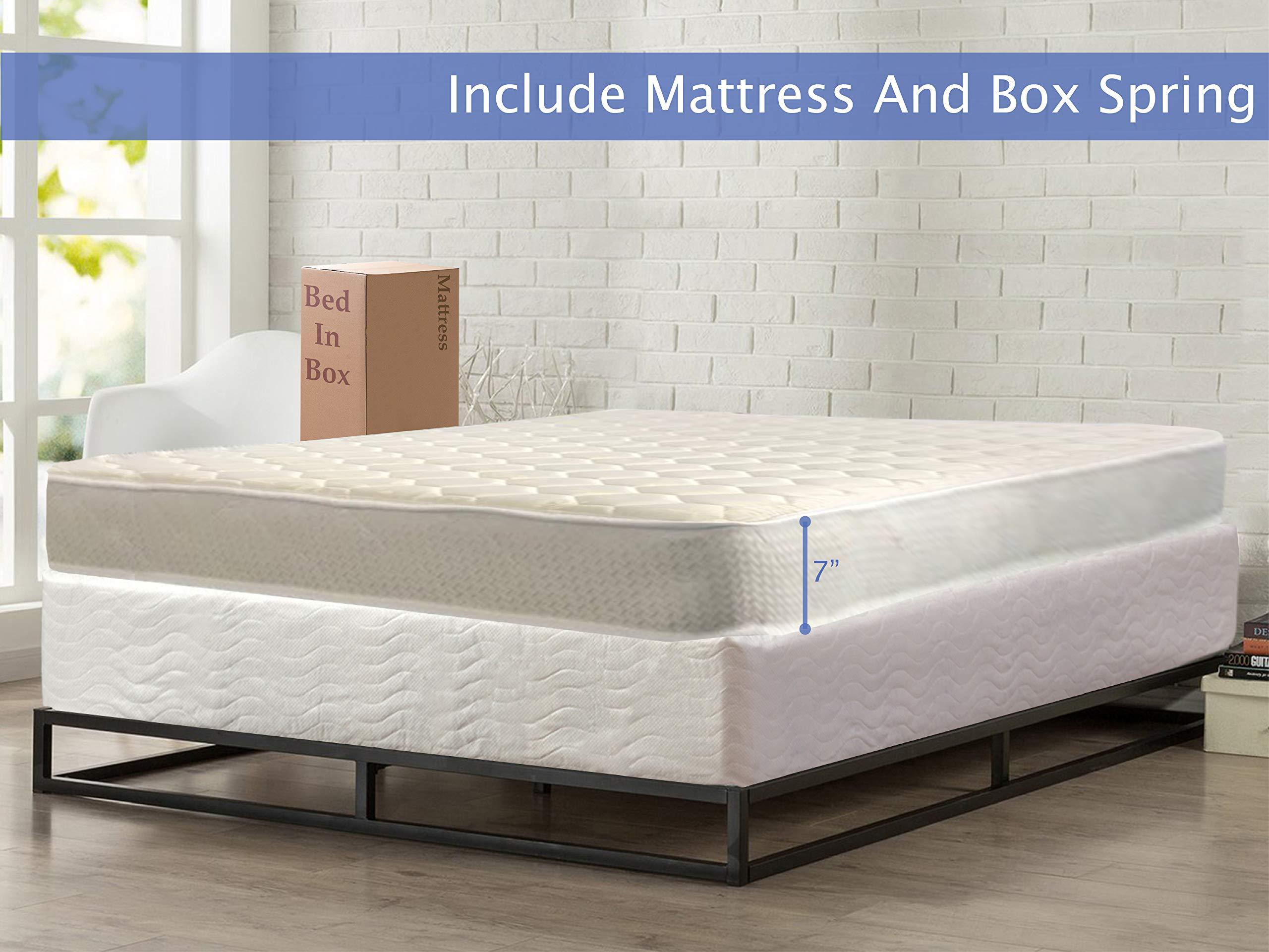 Nutan Medium Firm 7 inch High Density Poly Foam Mattress And 8-Inch Unassembled Wood Boxspring/Foundation Set,Twin Size, Beige by Nutan