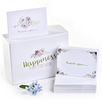 Amazon 100 Thank You Cards And Self Seal Envelopes 2 Floral