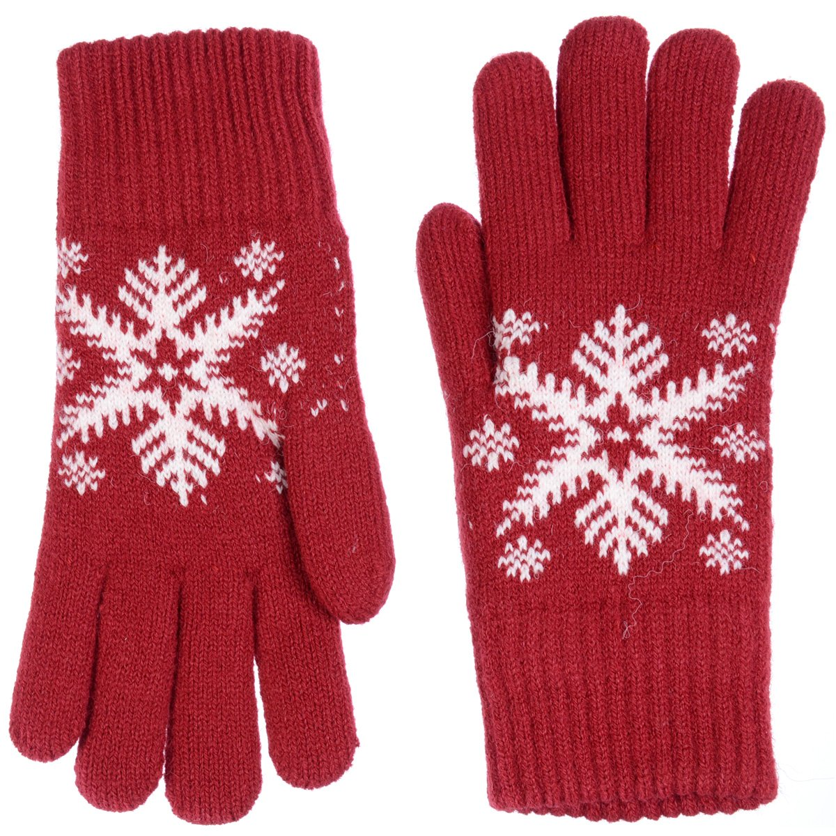 BYOS Womens Winter Ultra Warm Plush Fleece Lined Knit Gloves With Various Pattern Design (Red Snowflake) by Be Your Own Style (Image #3)