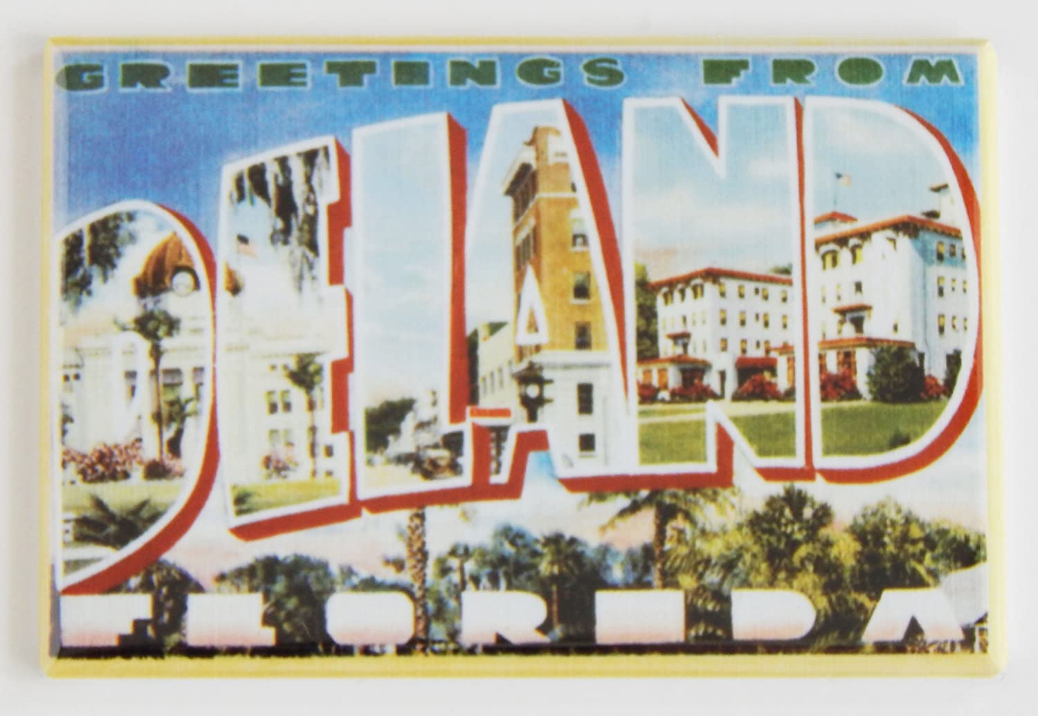 Amazon Com Greetings From Deland Florida Fridge Magnet 1 75 X 2 75 Inches Kitchen Dining