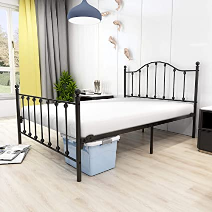 Marco de cama de metal de tamaño completo para somier y base de colchón de repuesto con patas de soporte de listones de metal resistentes (completo, ...