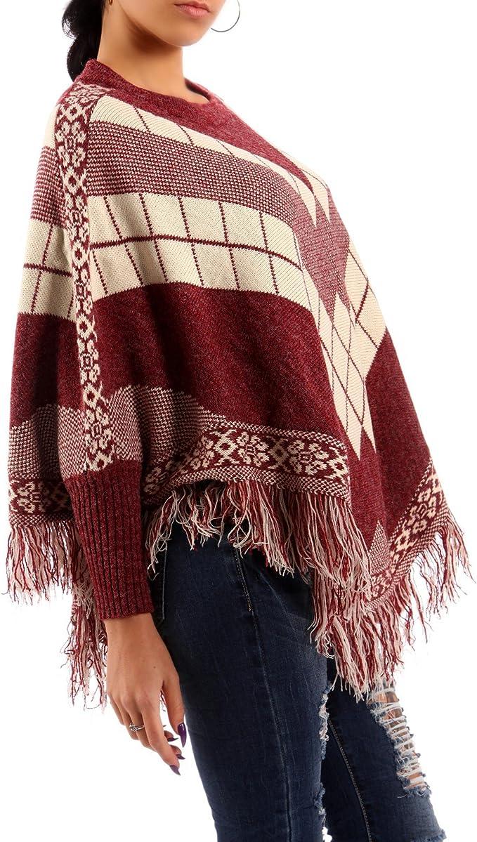 Pullis Damen Herbst Winter Poncho Cape Langarm V-Ausschnitt Irregular Perfect Strickpullover Chic Warm Vintage Sweater Unifarben Style