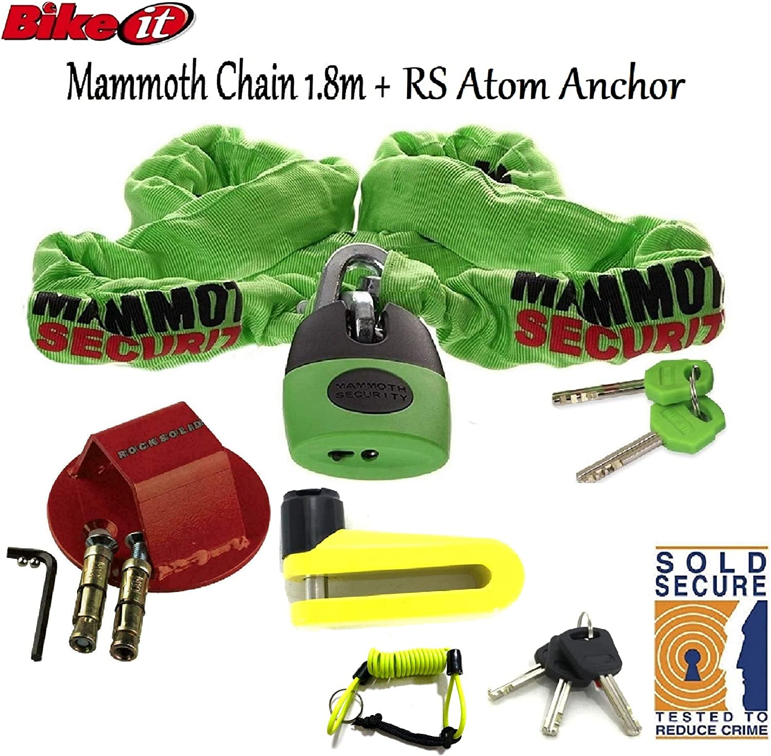 DLR Bikeit MAMMOTH SOLD SECURE GOLD APPROVED LOCM003 1.8M CHAIN LOCK Motorbike Motorcycle Theft Protection Safety RS Atom Ground Anchor /& Trigger 10mm Disc Lock