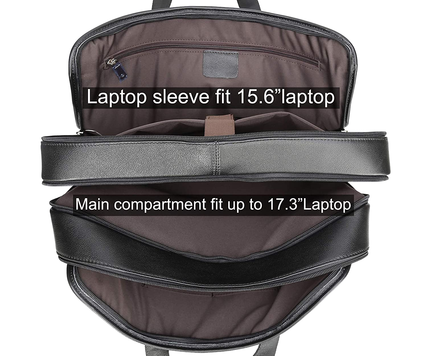 Black -Calfskin Leather Texbo Mens Solid Full Grain Cowhide Leather Large 17 Inch Laptop Briefcase Messenger Bag Tote