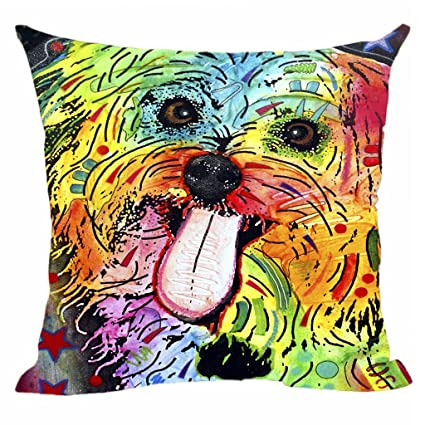 Amazoncom Cute Pet Dog Shih Tzu Pillow Covers Colorful Animals