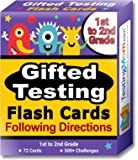 Gifted Testing Flash Cards – Following Directions for Grade 1 - Grade 2 – Educational Toy Practice for CogAT test, OLSAT test, ITBS, NYC Gifted and Talented, WISC, WPPSI