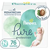 Diapers Newborn/Size 0 (<10 lb), 76 Count - Pampers Pure Protection Disposable Baby Diapers, Hypoallergenic and Unscented Pro