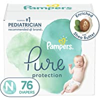 Diapers Newborn/Size 0 (<10 lb), 76 Count - Pampers Pure Protection Disposable Baby Diapers, Hypoallergenic and…