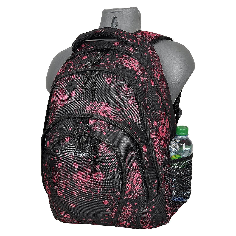 Mochila trolley para el colegio, 33 litros, 2 redes laterales, 2 compartimentos tamaño A4, organizador, mochila escolar, de Keanu, Valencia Black Pink ...