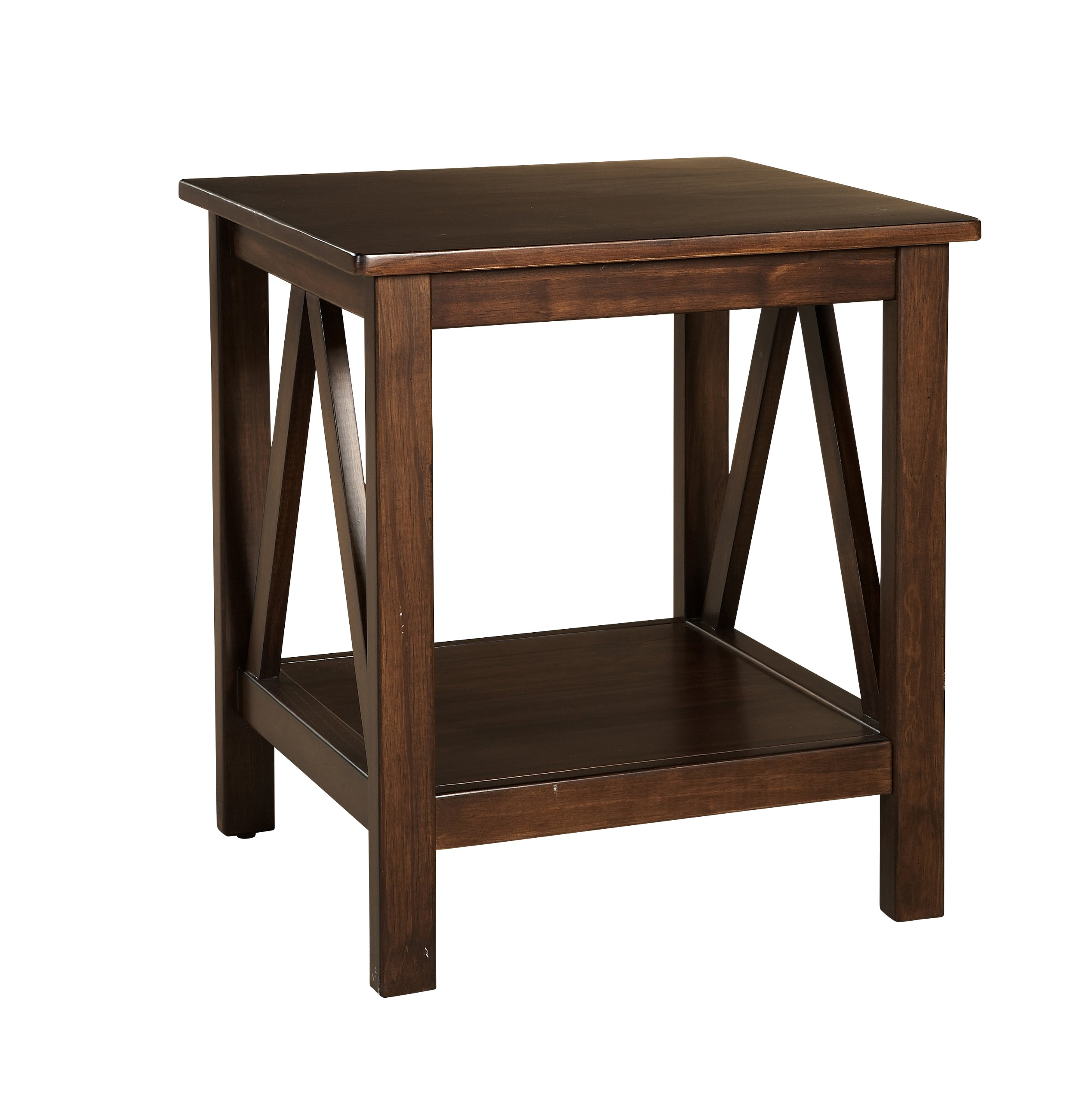 Linon Home Decor Titian Antique End Table - Antique Tobacco Finish Simple yet eye-catching design Versatile Design - living-room-furniture, living-room, end-tables - 81451etwRtL -