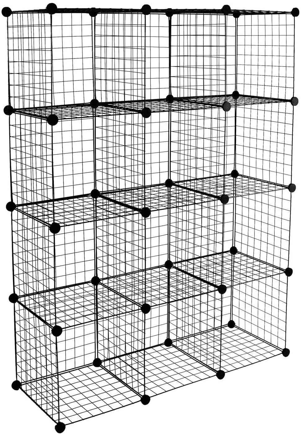 "Work-It! Wire Storage Cubes, 12-Cube Metal Grid Organizer | Modular Wire Shelving Units, Stackable Bookcase, DIY Closet Cabinet Organizer for Home, Office, Kids Room | 14"" W x 14"" H, Black"