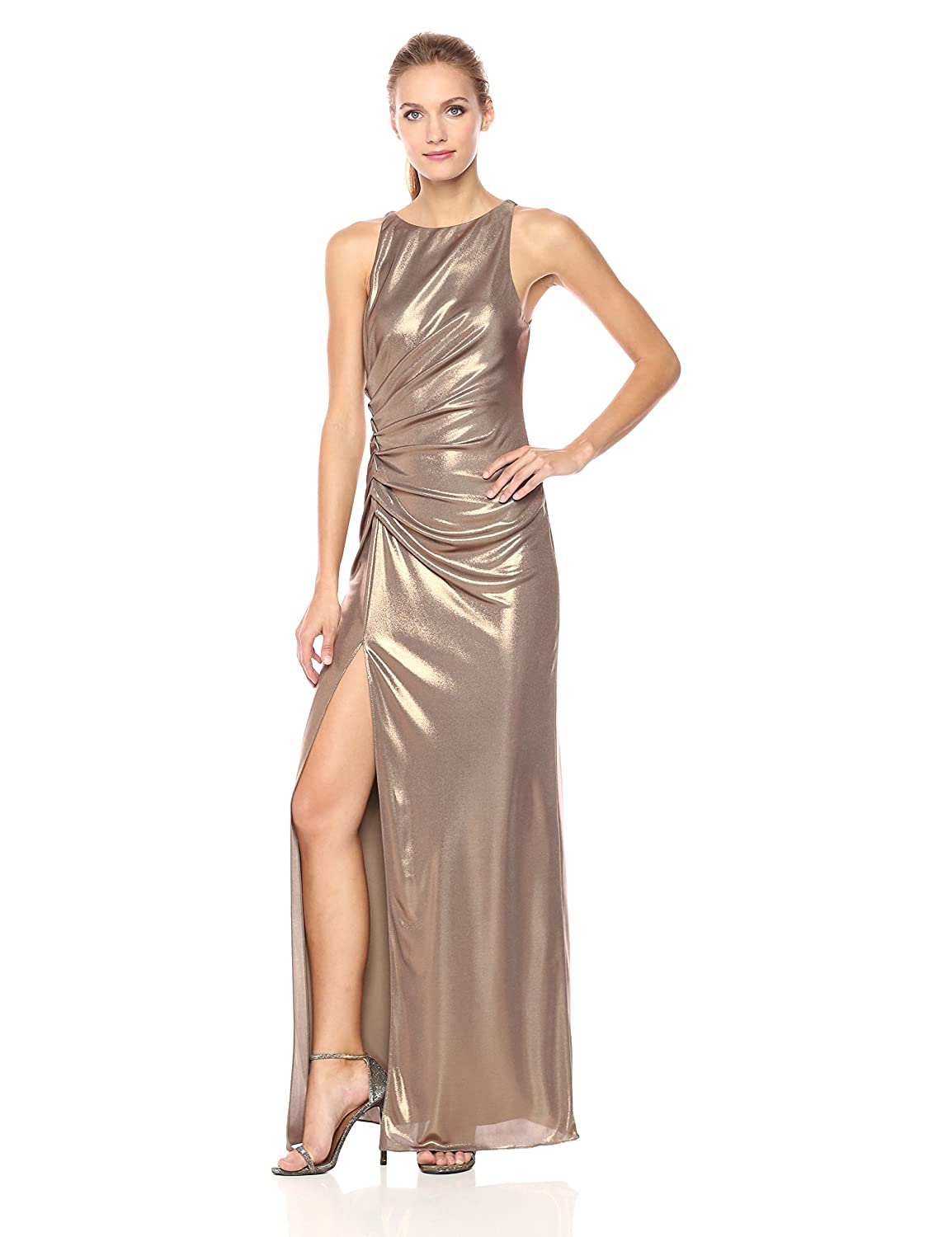 a868b67257c Amazon.com  Halston Heritage Women s Sleeveless Boatneck Ruched Side Gown   Clothing