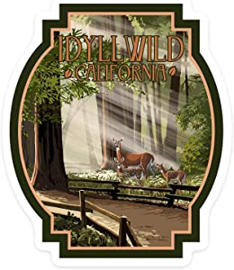 Stickers Seals Labels, Idyllwild, California - Deer and Fawns Label Sticker for Wall Laptop Water Bottles Holiday Greeting Cards Gift Envelopes Boxes