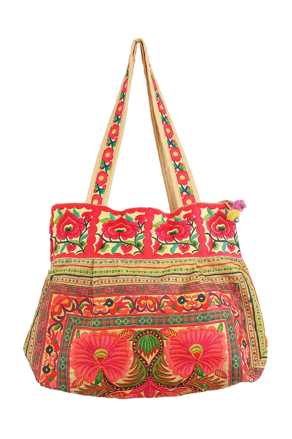 Changnoi Orange Flowers Hmong Tote Bag Hill Tribe Embroidered Fabric Purse Large Size