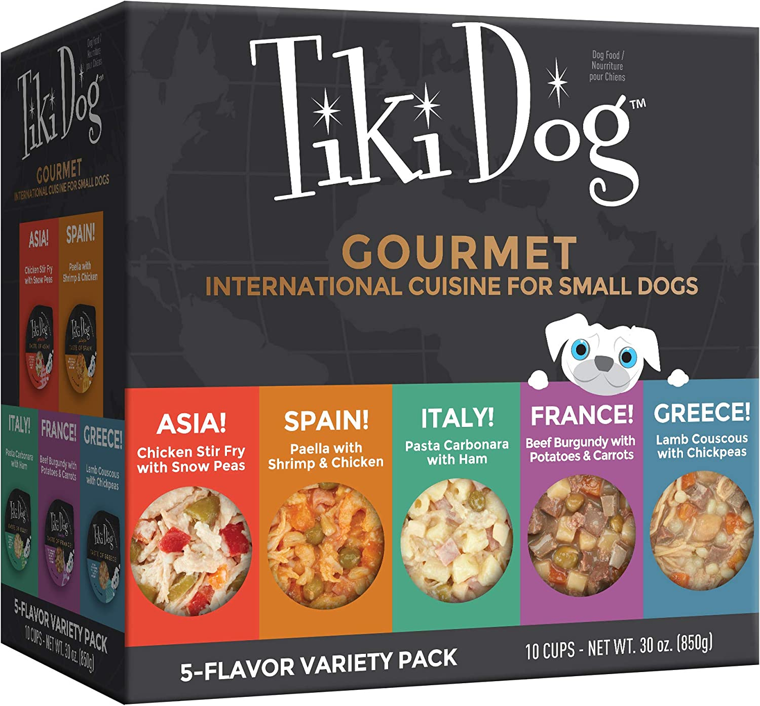 Tiki Dog Taste of The World – Meaty Wet Food Restaurant-Inspired Meals Variety Pack, 10 Cups, 3oz