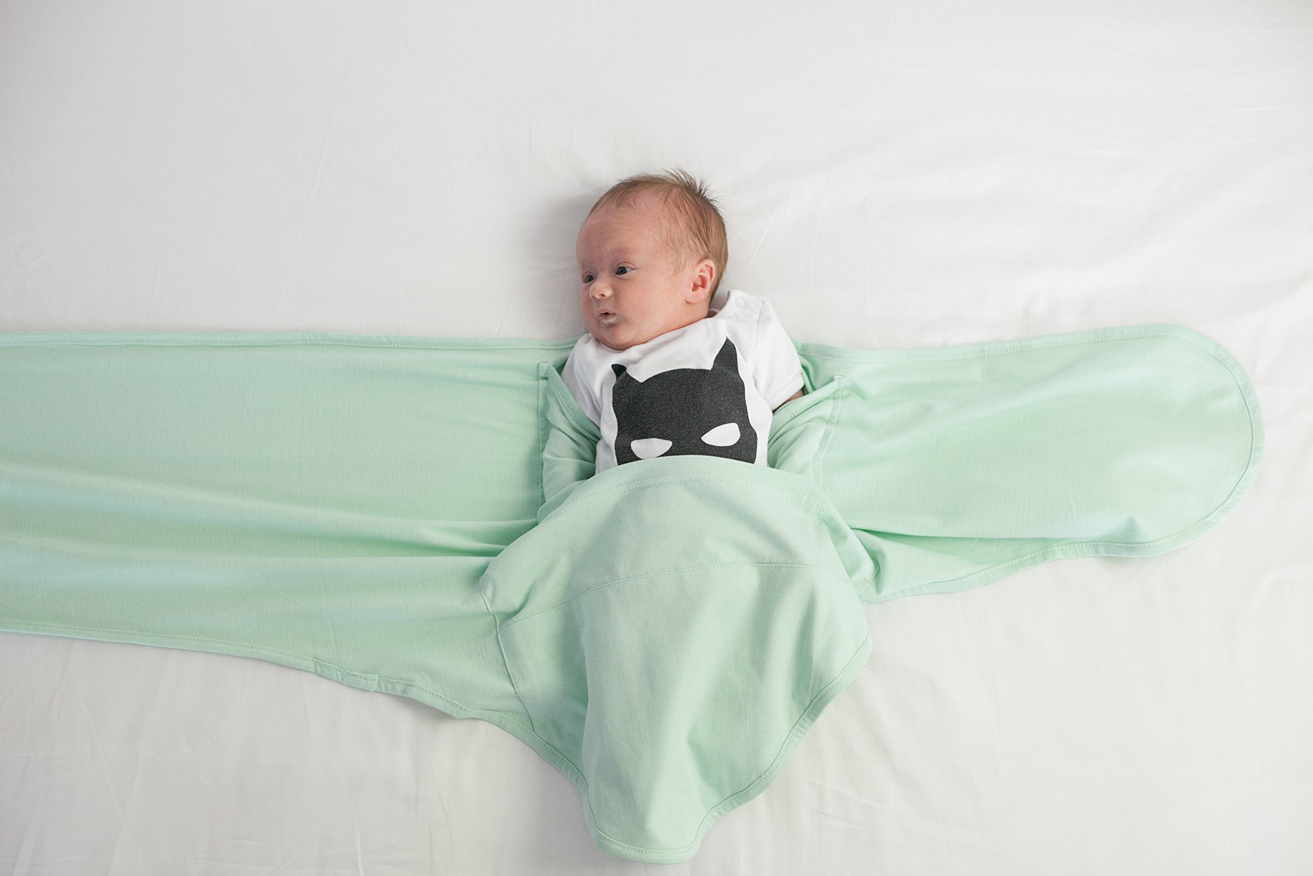 Miracle Blanket Swaddle Unisex Baby, Solid Mint, Newborn to 14 weeks by Miracle Blanket (Image #5)