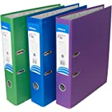 Pack of 3 Purple Foolscap Lever Arch Files 75mm Paper Storage Archive Legal Document Folders