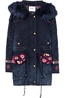Desigual Denim Winter Coat Natasha With Embroidery