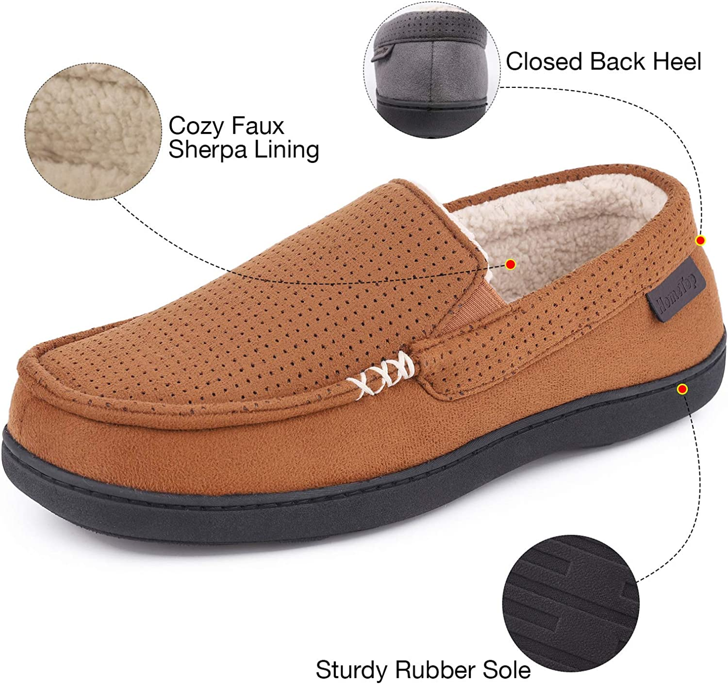 Mens Comfy Suede Memory Foam Moccasin Slippers Warm Sherpa Lining House Shoes with Anti-Skid Rubber Sole