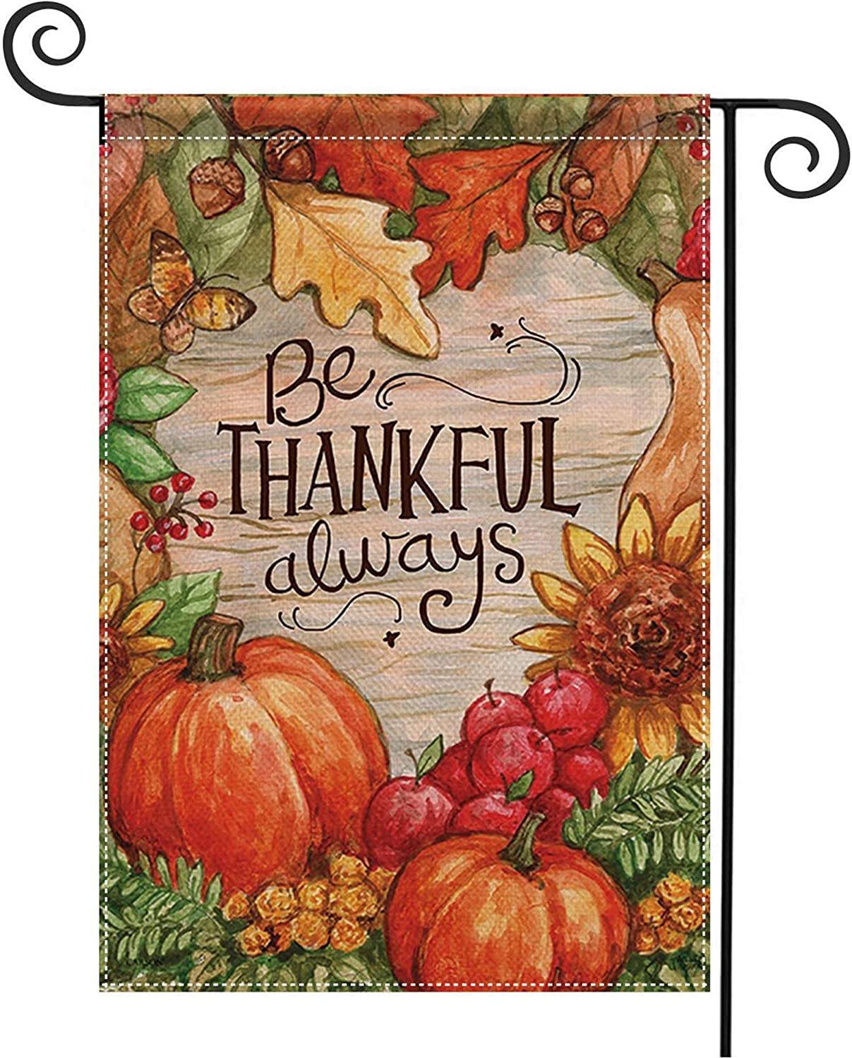 CHICHIC Fall Garden Flag Welcome Fall Flag Thanksgiving Yard Lawn Flags, Burlap Autumn Leaves Double Sized for Outside Thanksgiving Day Yard Outdoor Decorations, 12.5 x 18.5 Inch, Seasonal Pumpkin