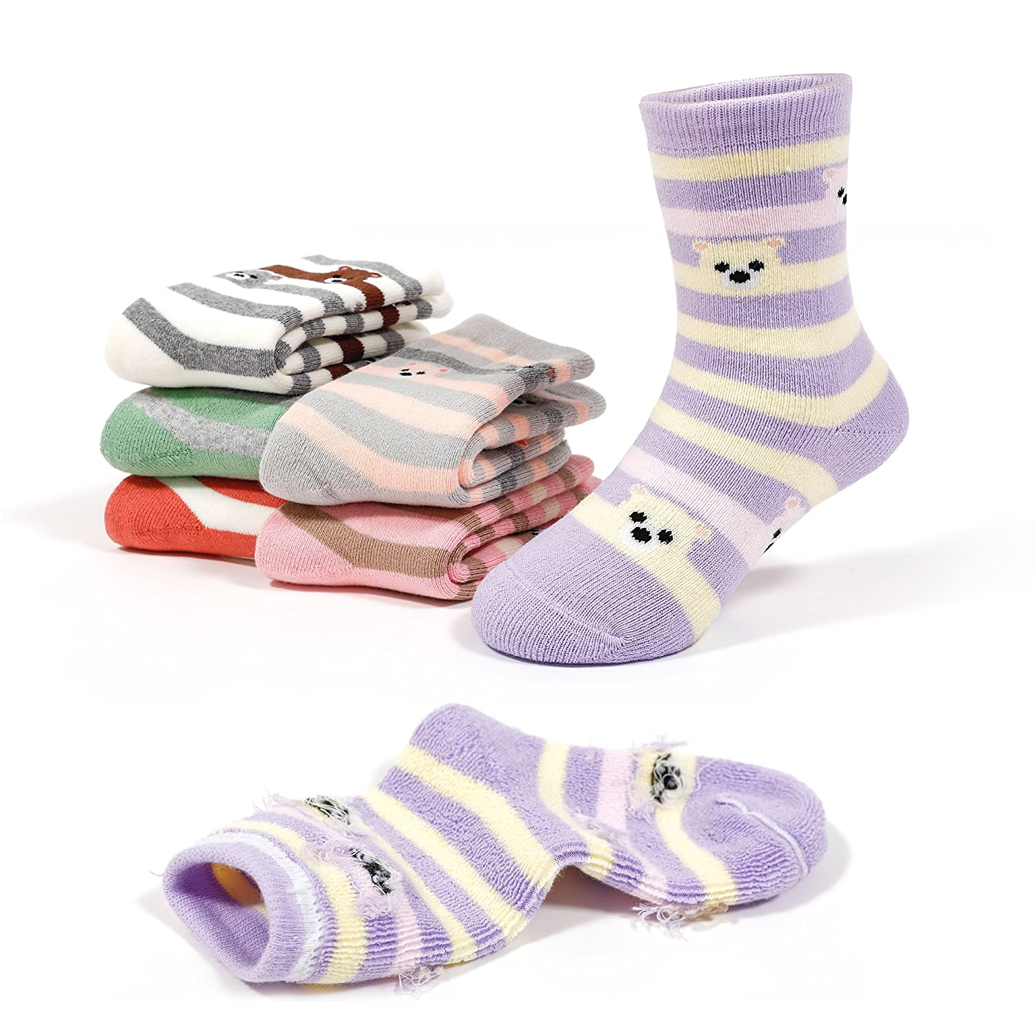 Girls Thick Cotton Socks Kids Winter Seamless Socks 6-Pack