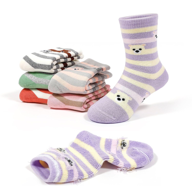 Girls Thick Cotton Socks Kids Winter Seamless Socks 6-Pack