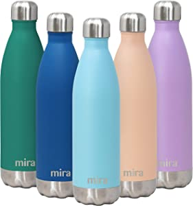 MIRA 25 Oz Stainless Steel Vacuum Insulated Water Bottle - Double Walled Cola Shape Thermos - 24 Hours Cold, 12 Hours Hot - Reusable Metal Water Bottle - Leak-Proof Sports Flask - Robin Blue