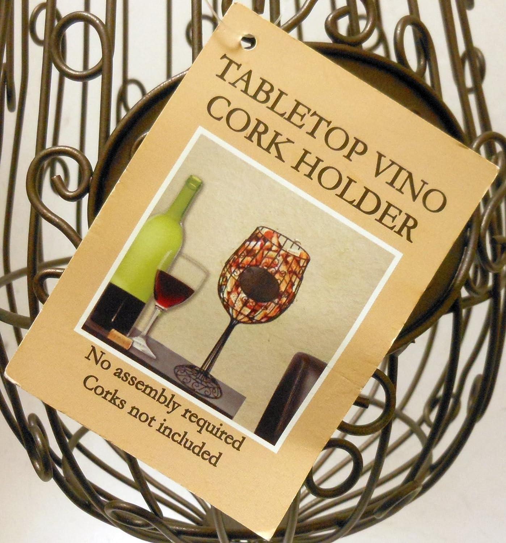 Amazon.com: \'Vino Corks\' Wire Frame Wine Glass Style Cork Holder 15 ...