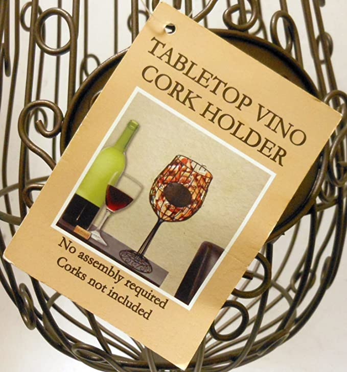 Amazon.com: \'Vino Corks\' Wire Frame Wine Glass Style Cork Holder 15 ...