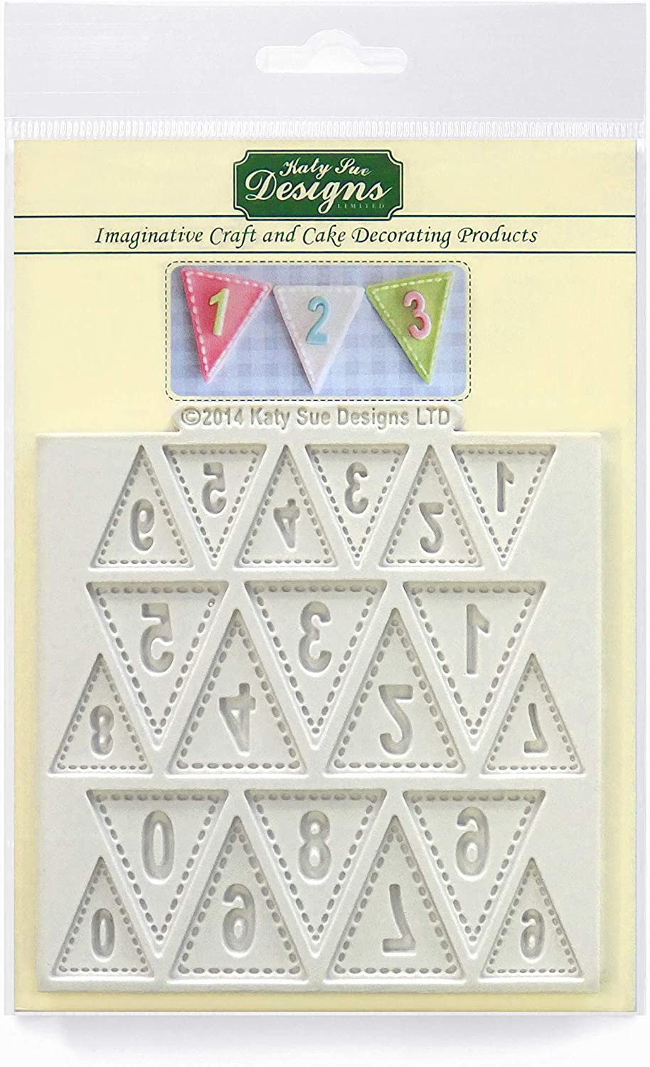 Katy Sue Bunting Numbers Silicone Mold for Cake Decorating, Crafts, Cupcakes, Sugarcraft, Cookies, Candies, Cards and Clay, Food Safe Approved, Made in The UK