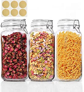 KTMAMA Airtight Glass Canister Set of 3 with Lids 78oz Food Storage Jar Square Storage Container with Clear Preserving Seal Wire Clip Fastening for Kitchen Canning Cereal,Pasta,Sugar,Beans,Spice