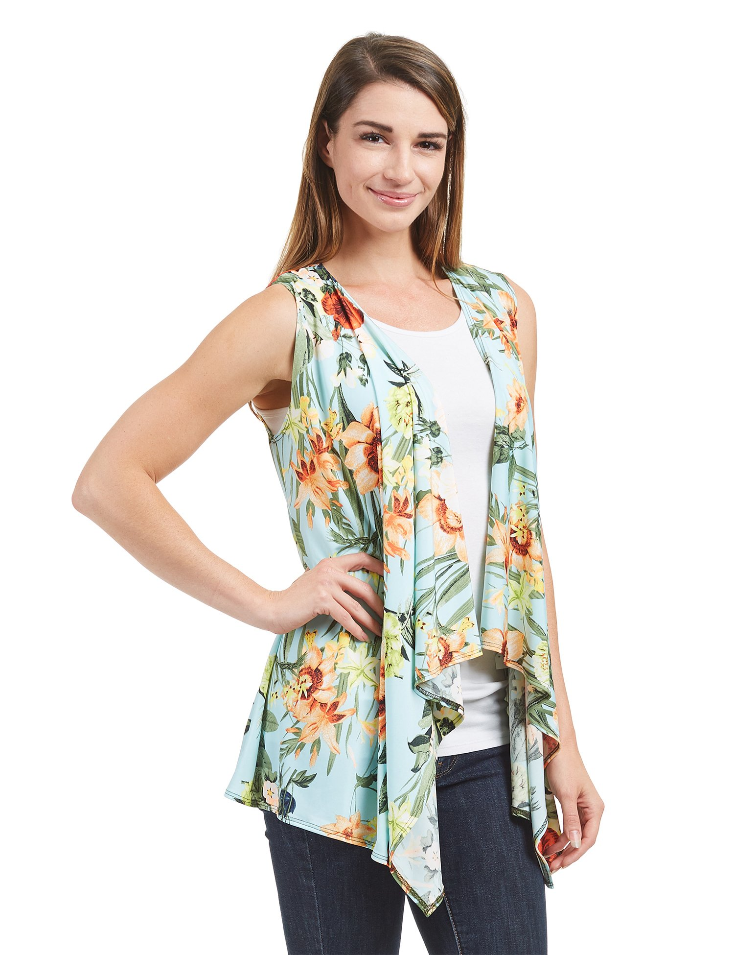 Womens WSK1350 Lightweight Print Draped Sleeveless Cardigan XL MINT_FLORAL