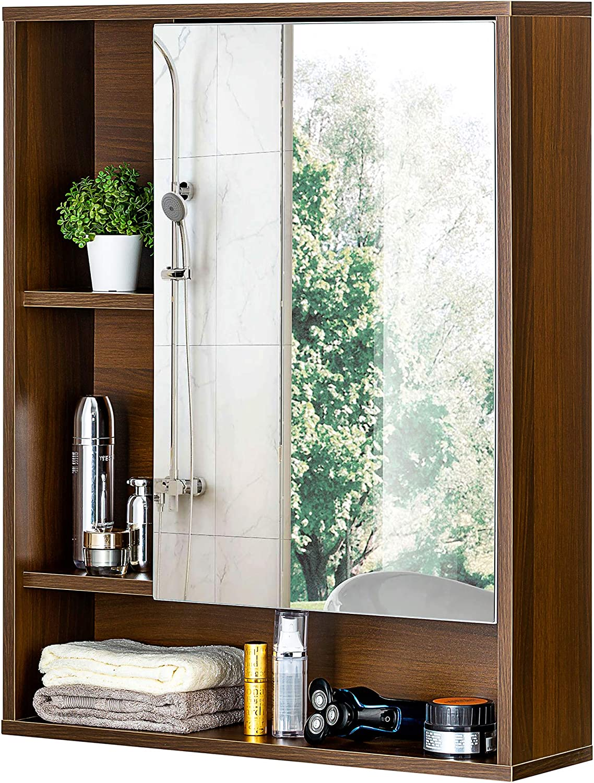 ChooChoo Bathroom Wall Mirror Cabinet, Medicine Cabinet with Single Door and Adjustable Shelf, Over The Toilet Space Saver Storage Cabinet, Walnut
