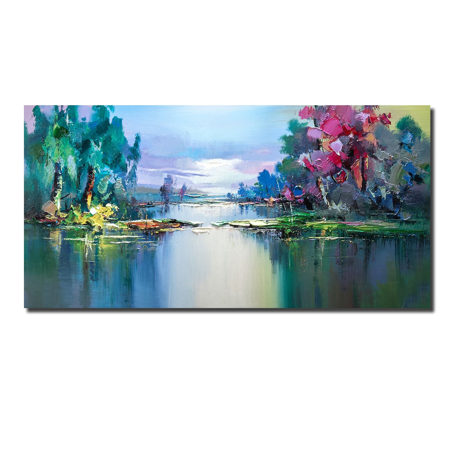 QINGYAZI Hand-Painted Modern Abstract 3D Knife Painting Landscape Bedroom Living Room Hotel Home Wall Art (Blue, 24 x 48 inch x 1PC (60x120cmx1pc))