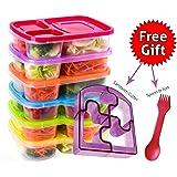 Juego de 6fiambreras de plástico, multicolor, ideal para adultos y niños, 3compartimientos, cuchara y tenedor 2 en 1 y cortador de sándwiches
