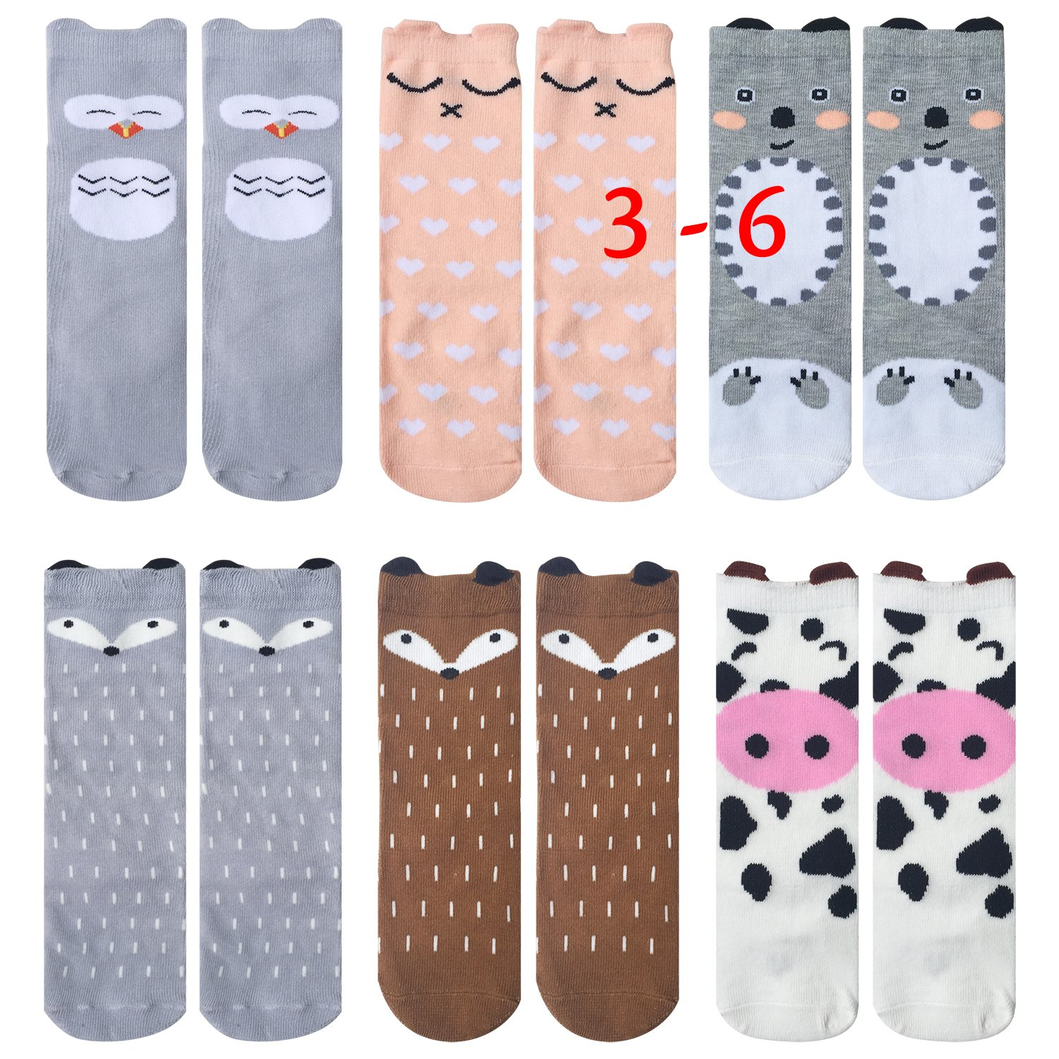 Fasker 6 Pairs Unisex Baby Girls Socks Knee High Socks Animal Baby Stockings (L(3-6 Years), B-6 Pack)