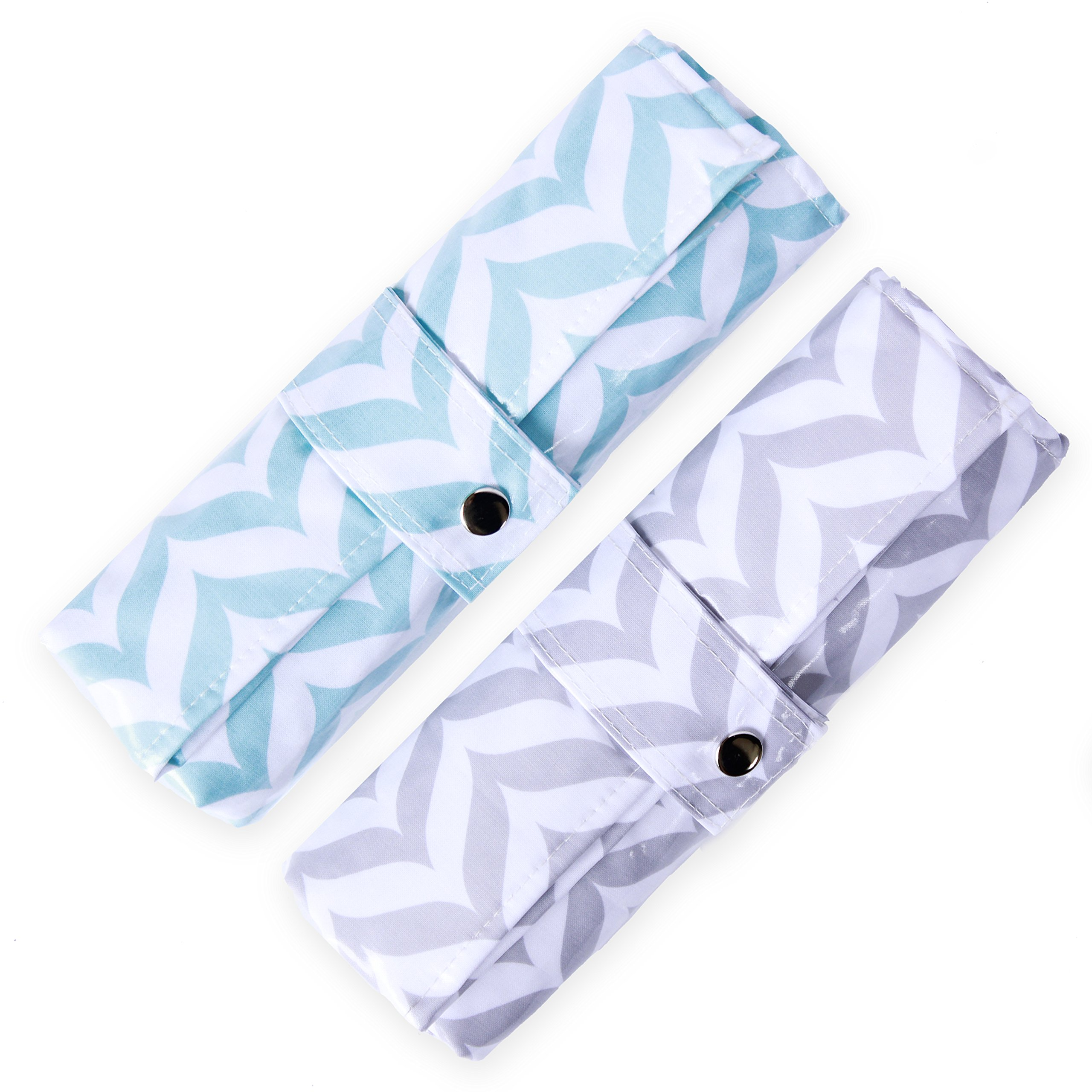 Diaper Changing Pad - Waterproof, Wipeable & Washable - Quilted Padding (Grey & Blue Chevron Duo)