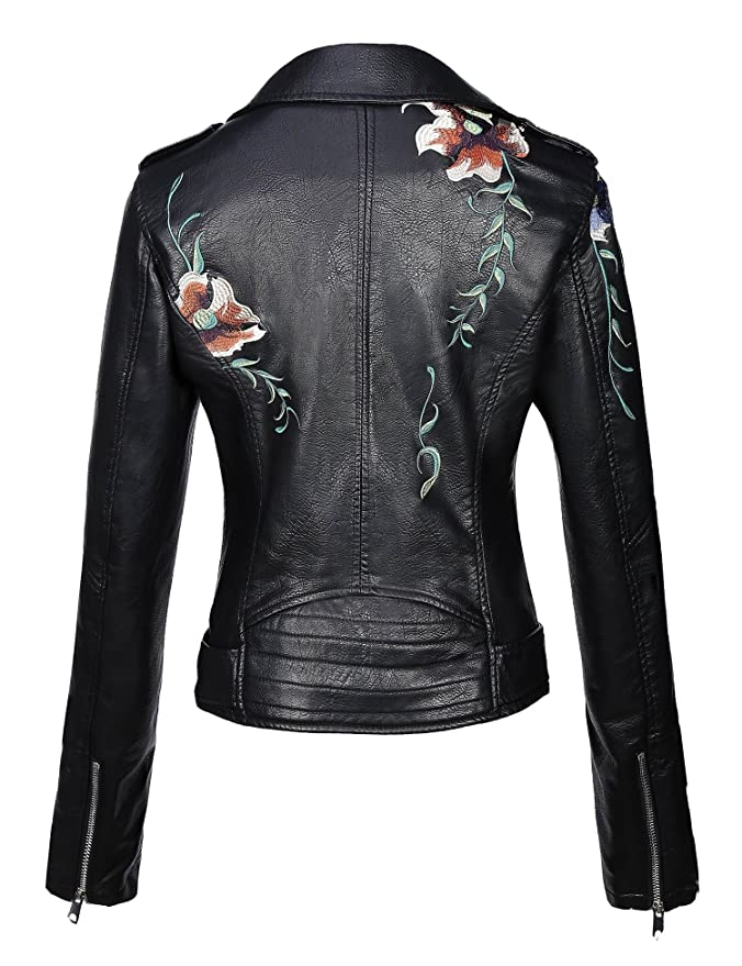 Bellivera Women Embroidered Floral Fall Motorcycle Leather Jacket Chaquetas De Mujer at Amazon Womens Coats Shop