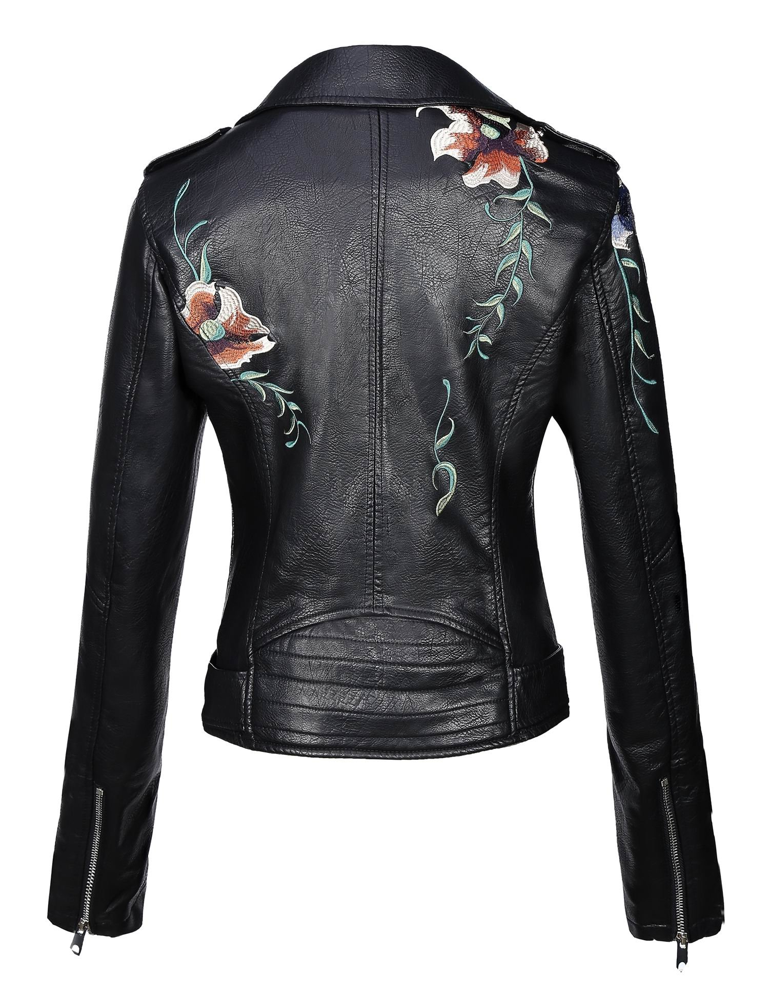 Bellivera Womens Long Sleeves Faux Leather Embroidery Floral Zipper Jacket by Bellivera (Image #2)